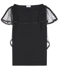 Red Valentino Cotton Lace Tank Black