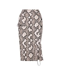 Altuzarra Snakeskin Printed Cotton Skirt Brown