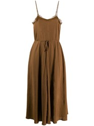 Vince Spaghetti Straps Midi Dress Brown