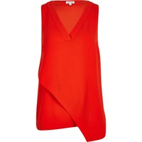 River Island Womens Red Wrap Tunic Top