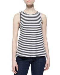 Lovers Friends Striped Layered Open Back Tank Heather Gray