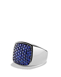 David Yurman Pave Signet Ring With Sapphires Silver Blue