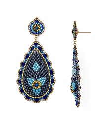 Miguel Ases Beaded Teardrop Earrings Blue