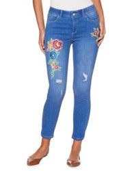 Rafaella Petite Distressed Floral Embroidered Skinny Jeans Atlantic