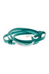 Miansai Hook On Leather Bracelet Green