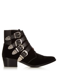 Toga Buckle Velvet Ankle Boots