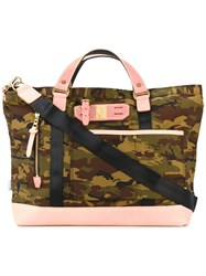 Master Piece Camouflage Tote Men Leather Nylon One Size Green