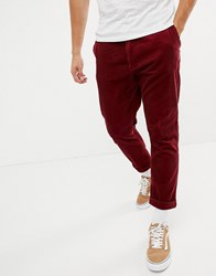 United Colors Of Benetton Cropped Cord Trouser In Red