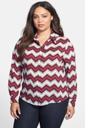 Foxcroft 'Vintage Chevron' Shirt Plus Size Red