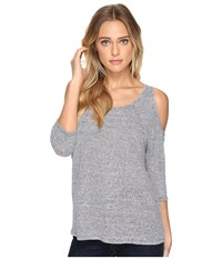 Three Dots 3 4 Sleeve Cold Shoulder Top Navy Ivory Women's Clothing Blue