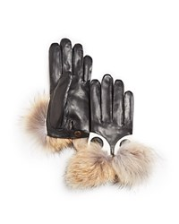 Maison Fabre Coyote Fur Short Gloves Black Natural
