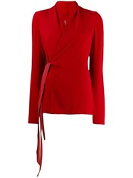 Rick Owens Wrap Blouse Red