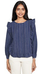 Madewell Ruffle Front Top Stevie Stripe