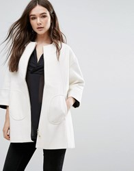 Lavand Swing Coat In White Off White