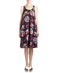 Kenzo Sleeveless Floral Silk Georgette Shift Dress Red Multicolor