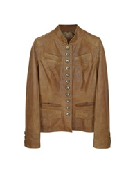 Forzieri Light Brown Mandarin Collar Leather Jacket