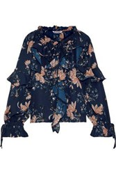 Walter Baker Woman Lizzy Ruffled Floral Print Crepe Top Midnight Blue