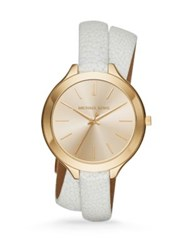 Michael Kors Slim Runway Goldtone Stainless Steel And White Stingray Embossed Leather Double Wrap Watch Gold White