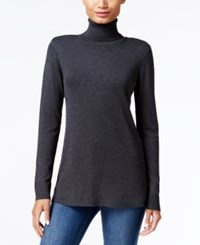 Kensie Pleated Back Turtleneck Sweater Heather Charcoal