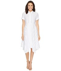 Donna Morgan Dot Burnout Jacqquard Shirt Dress With Handkerchief Hem Skirt White Women's Dress