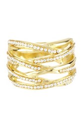 Candela 14K Yellow Gold Plated Sterling Silver Multi Row Crystal Ring Size 7 No Color