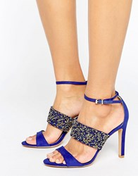 Forever Unique Willow Multi Strap Heeled Sandal Blue Gold