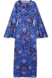 Caroline Constas Liliana Printed Stretch Silk Satin Maxi Dress Blue