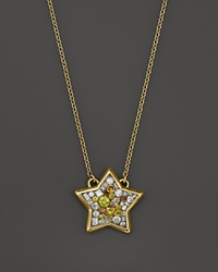 Pleve 18K Yellow Gold Sun Burst Mosaic Star Pendant Necklace With Diamonds 16.5 Yellow White