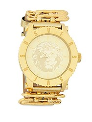 Versus By Versace Stainless Steel Leather Strap Watch Yellow Gold