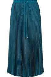 Tibi Mendini Pleated Twill Midi Skirt Teal