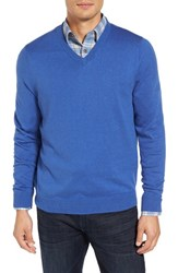 Nordstrom Men's Big And Tall Men's Shop Cotton And Cashmere V Neck Sweater Blue Marine Heather