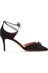 Salvatore Ferragamo Bow Embellished Suede Pumps Black