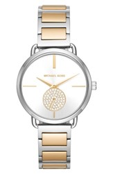 Michael Michael Kors Women's Portia Round Bracelet Watch 36.5Mm Silver Gold White