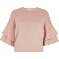 River Island Womens Light Pink Knit Double Frill Sleeve Top