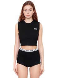Gcds Logo Patch Viscose Knit Cropped Top Black