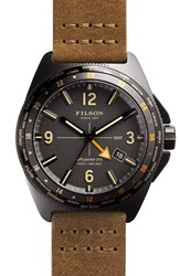 Men's Filson 'Journeyman' Leather Strap Watch 44Mm