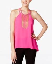 Xoxo Juniors' Chain Fringe High Low Top Hot Pink