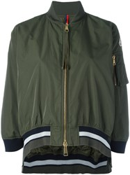 Moncler Cropped Striped Trim Jacket Green