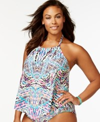 Kenneth Cole Reaction Plus Size Printed Tankini Top Women's Swimsuit