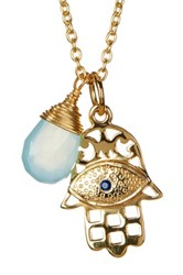 Argentovivo 18K Yellow Gold Plated Sterling Silver Aqua Chalcedony Hamsa Pendant Necklace Metallic