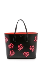 Rochas Cutout Roses Tote Black