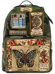 Valentino Patch Appliqued Backpack Green