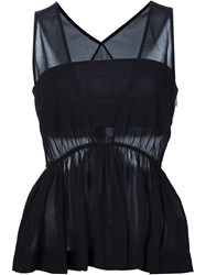 Chloe Ruffle Sleeveless Blouse Black