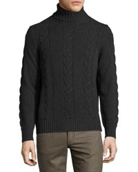 Luciano Barbera Cashmere Cable Knit Turtleneck Sweater Gray