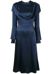 Tatuna Nikolaishvili Cowl Neck Dress Blue