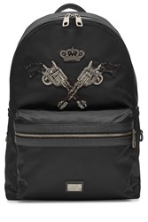 Dolce And Gabbana Embellished Fabric Backpack With Leather Black
