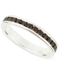 Macy's Garnet Accent Ring In Sterling Silver