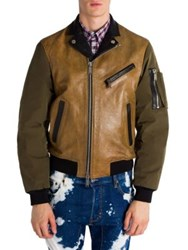 Dsquared Colorblock Leather Jacket Camel