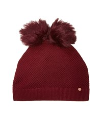 Ted Baker Double Pom Pom Hat Oxblood Caps Red