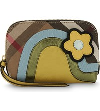 Burberry House Check Cotton And Leather Pouch Pale Opal